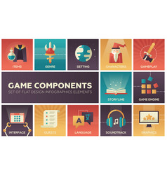 game components - modern flat design icons vector image