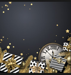 grey 2018 background with gifts and clock vector image