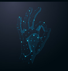 Hand show okay sign abstract cosmic vector