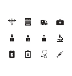 Hospital icons on white background vector image vector image