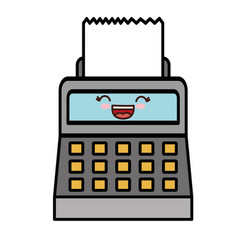 Kawaii cash register icon vector