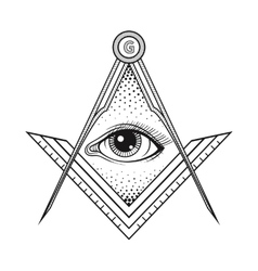 Masonic square and compass symbol with all seeing vector