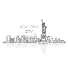new york usa skyline background city silhouette vector image