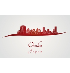 Osaka skyline in red vector
