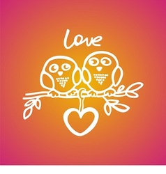 owls fall in love on the branch vector image