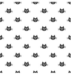 Pattern with cute black cat heads vector