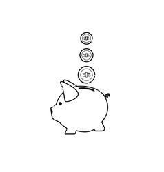 piggy pig for saving money vector image