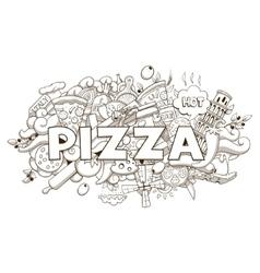 Pizza hand drawn title design vector