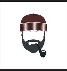 Portrait of bearded old sailor with tobacco pipe vector