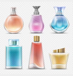 Realistic perfume and scented toilet water bottles vector