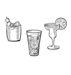 set of alcoholic cocktails vector image vector image