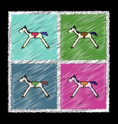 Set of flat shading style icons kids rocking horse vector