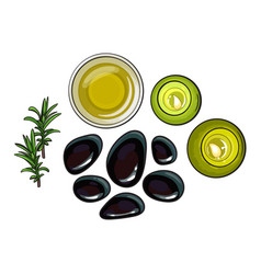 Spa set - basalt stones massage oil towel vector