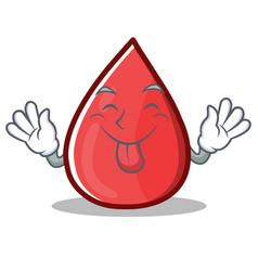 Tongue out blood drop cartoon mascot character vector