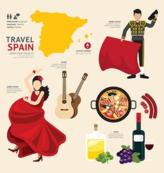 Travel concept spain landmark flat icons vector