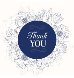 Vintage navy blue vintage floral drawing vector