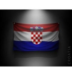 waving flag croatia on a dark wall vector image vector image