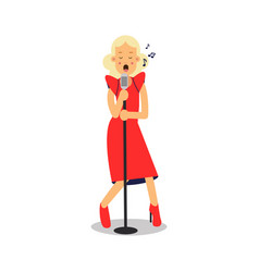 young blonde woman in red dress singing with vector image vector image