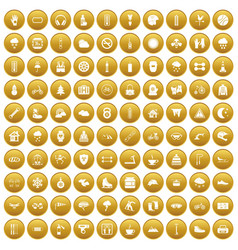 100 glove icons set gold vector