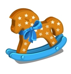 Childrens wooden rocking horse with blue bow vector