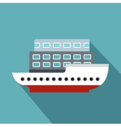 Large passenger ship icon flat style vector