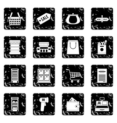 Supermarket set icons grunge style vector