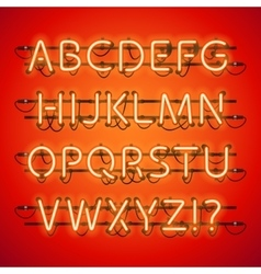 Glowing neon red alphabet vector