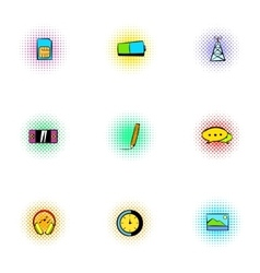 Messages over internet icons set pop-art style vector
