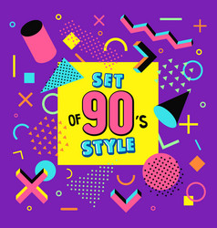 set design of 90s style vector image