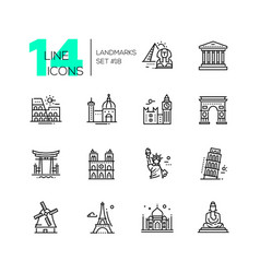 Landmarks - modern single line icons set vector