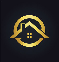 House icon roof gold logo vector