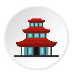 Buddhist temple icon circle vector