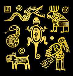 Mexican culture golden tribal signs vector