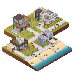 Isometric building estate composition vector