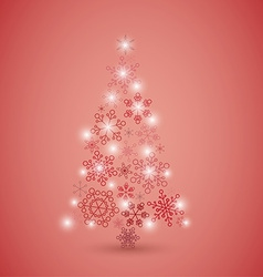 Christmas tree made from red snowflakes vector