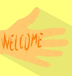 Hand welcome vector