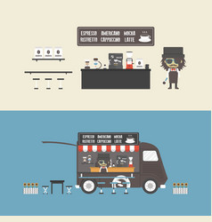 471coffee shop and mobile coffee vector
