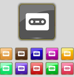 Cassette icon sign set with eleven colored buttons vector