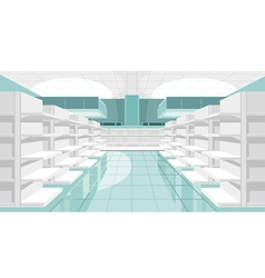 Light store room with empty shelves vector