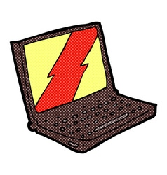 Comic cartoon laptop computer vector