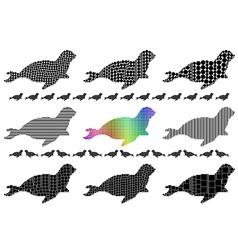 Seal silhouette mosaic set vector