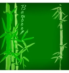 Bamboo sumi-e ink painted card vector