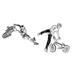 bikers on white background extreme theme modern vector image