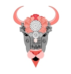 bison with ornament vector image