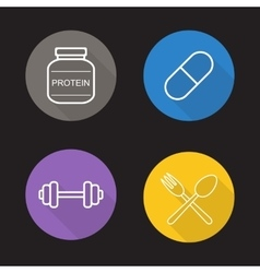 Bodybuilding flat linear icons set vector image vector image