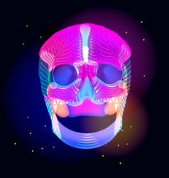 Bright human skull over dark vector