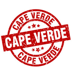 Cape verde red round grunge stamp vector