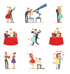 couples in love romantic st valentine s day date vector image vector image