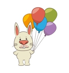 Cute animal tender character with ballons party vector