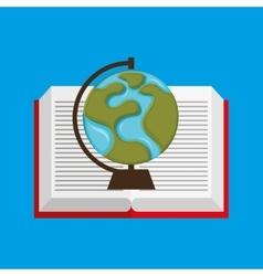 Cute boy book open globe vector